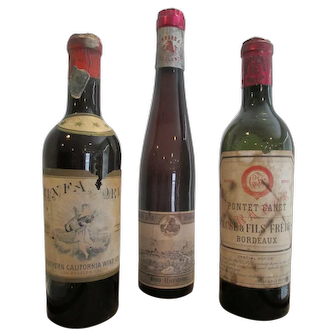 Antique Wine Bottles, Set of Three