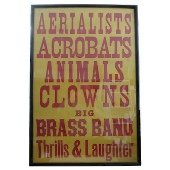 Vintage Circus Poster (rare) early to mid-1970s