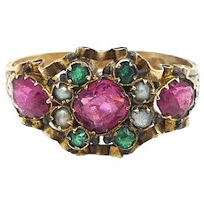 Antique Victorian! 15ct Gold Purple/pink Paste, Pearl & Green Paste Ring! C1873