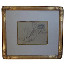 Lawton Parker  pencil drawing of a reclining nude