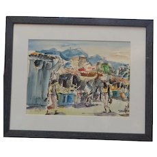 Jaime Oates Watercolor Painting, Taxco market scene,  signed and framed
