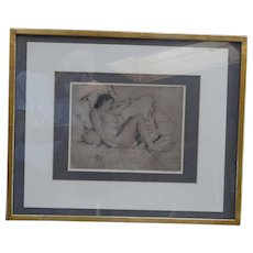 Lawton Parker  etching of a reclining nude