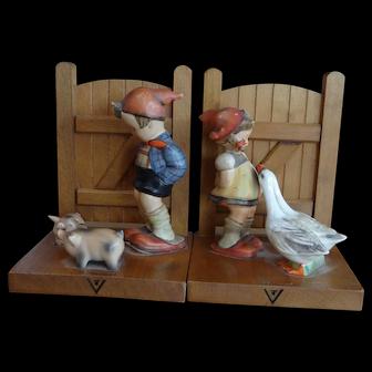 Hummel Bookends; Goose Girl and Farm Boy