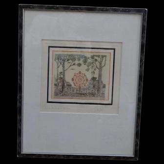 "Guillermo Silva SantaMaria colored etching; ""La Reuda de la Fortuna""  1970"