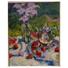 Scott Switzer oil painting on board, still life floral