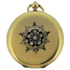 18k Gold and Black Enamel pendant watch. 1800 Circa.