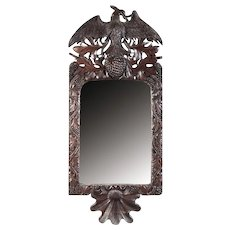 Antique Mirror with Carved Wood Frame. Black Forest, XIX century