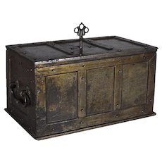 Antique iron strongbox with original lock and key