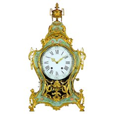 Swiss Louis XVI Musical Cartel Clock in vernis martin, circa 1770