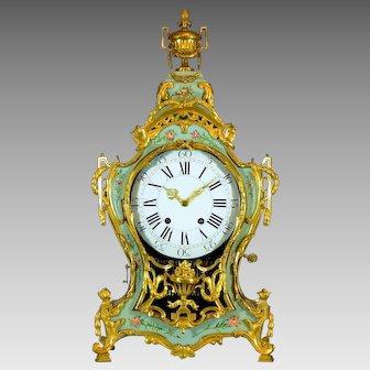 Swiss Louis XVI Musical Cartel Clock in vernis martin, circa 1770