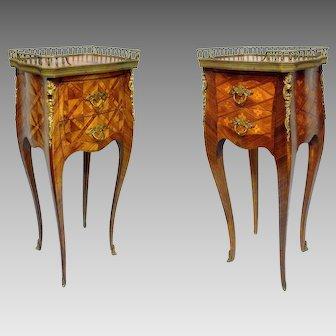 Pair of little nightstands Louis XV style, XX century