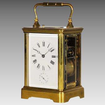 "Swiss Carriage Clock with ""Grande et Petite Sonnerie"", Pendule Officier circa 1900"