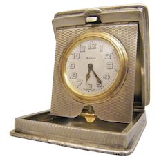 "Art Decò Silver Travelling Clock, Hallmarked Birmingham 1924 By The Maker ""William Base & Sons"""