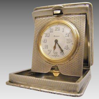 "Art Decò Silver Travelling Clock, Hallmarked Birmingham 1924 By The Maker ""William Base & Sons"""