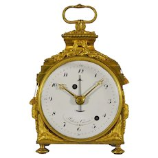 "Gilt Bronze Quarter Repeating Alarm ""Pendule d'Officier"" Travel Clock, circa 1790"