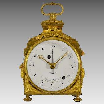 """Gilt Bronze Quarter Repeating Alarm """"Pendule d'Officier"""" Travel Clock, circa 1790"""