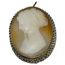 Cameo Brooch/Pendant Antique Victorian Hand Carved signed