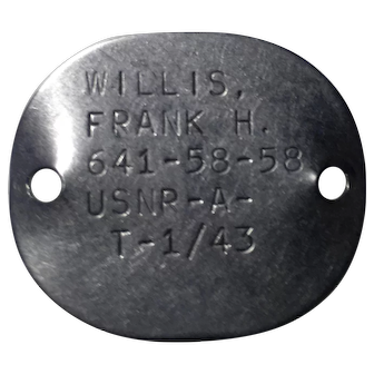 WWII 1943 USNR Navy Dog Tags sailor