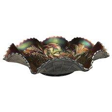 "Antique Northwood ""Wild Strawberry"" Master Glass 8-Ruffle Large Bowl, Iridescent Amethyst Carnival Master Glass 8-Ruffle Large Bowl, Collector's Condition, C. 1912"