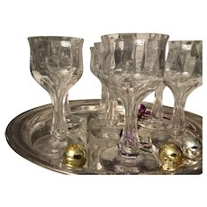 Bryce Hollow Stem Optic Crystal Champagne Goblet with Stem #355, Plain, Set of 7, c. 1920, Excellent Condition