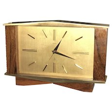 "Mid-Century Modern Swiss Cyma ""Sonomatic"" 16 Jewel Brass and Wood Mechanical Desk Alarm Clock, 1950.  One of a kind.."