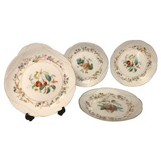 Antique Haviland Limoges H&Co Set of 5 Luncheon Plates, Hand Painted, Gold Trim, c. 1879-1886