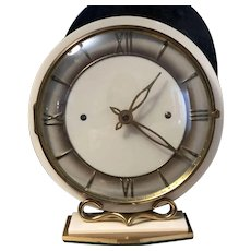 French Art Deco Brass and Bakelite Mechanical Shelf Clock, Excellent Working Condition, c. 1930's