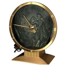 "Mid-Century Jefferson ""Golden Hour"" Mystery Clock, Excellent Working Condition, Dated 1/29/56."