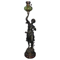 """French Antique Art Nouveau Bronze Figural Oil Lamp, """"La Jeunesse"""" Signed by Rancoulet c.1900"""