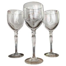 """Waterford """"Carlton Gold"""" Wine Glasses, Set of Four, Pristine Condition"""