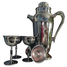 Art Deco Embossed Chrome Cocktail Shaker with Handle and Spout, 4 Matching Martini Glasses, c. 1930-40's