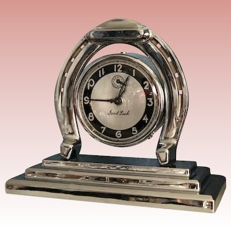 """1939 Art Deco Lux Clock """"Good Luck"""" Horseshoe Chrome Mechanical Alarm Clock, Serviced and Working Great"""