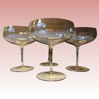 """Dorothy Thorpe Mid-Century """"Topaz Lustre"""" Iridescent Crystal Champagne Coupe Glasses, Set of 4"""