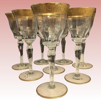 "Tiffin Gold ""Rambler Rose"" Stem 15042 Set of 8 Clear Optic Glass Water Goblets"
