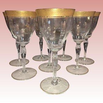 """Tiffin Gold """"Rambler Rose"""" Stem 15042 Set of 8 Clear Optic Glass Wine Goblets"""