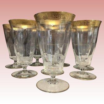 "Tiffin Gold ""Rambler Rose"" Stem 15042 Set of 8 Clear Optic Glass Iced Tea Goblets"