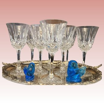 """Noritake """"Rockford"""" Set of 8 Cut Crystal Wine Glasses, Perfect Condition, c. 1997"""