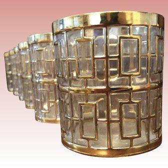 "Imperial Glass ""Shoji"" Set of Six 11 ounce On-the-Rocks Glasses, Mid-Century Modern, c. 1965"