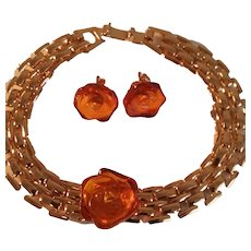 Vintage Lee Sands Amber and Goldtone Bracelet 3-PC Set with Matching Amber Earrings