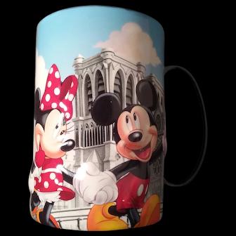 Disneyland Resort Paris Mickey Minnie Pluto Euro Disney Mug Vintage 1992 Embossed 3D