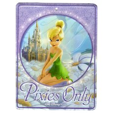 """Disney's Tinker Bell """"Pixies Only"""" Tin Wall Sign"""