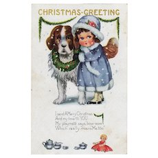 Vintage Whitney Christmas Postcard with Little Girl and Her Dog