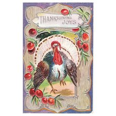 Circa 1910 Vintage Thanksgiving Holiday Postcard with Embossed Turkey