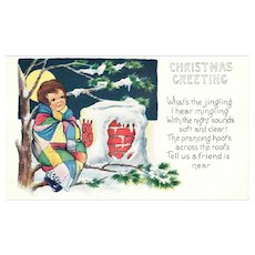 Vintage Whitney Christmas Postcard c 1920