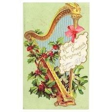 Circa 1907 Antique Christmas Harp Postcard Collectible