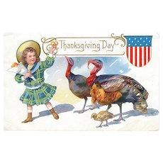 Circa 1909 Antique Thanksgiving Day Postcard