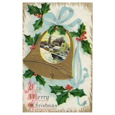 Circa 1913 Antique Embossed Christmas Postcard with Bell, Holly, Ribbon, Snow Scene