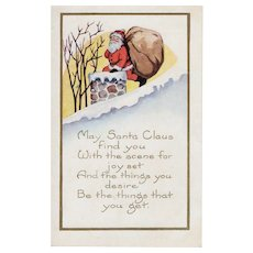 Vintage Whitney Christmas Santa Claus Embossed Postcard Collectible