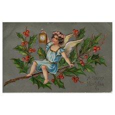 Vintage Angel Happy New Year's Embossed Postcard
