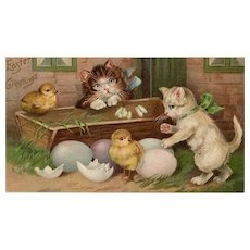 Vintage Easter Greetings Postcard with Kittens and Chicks